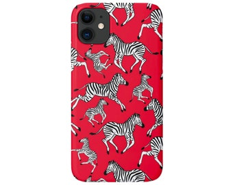 Zebras iPhone 12, 11, XS, XR, X, 7/8, 6/6S P/Pro/Plus/Max Snap Case or TOUGH Protective Cover, Bright Red Zebra/Animal Wallpaper Print