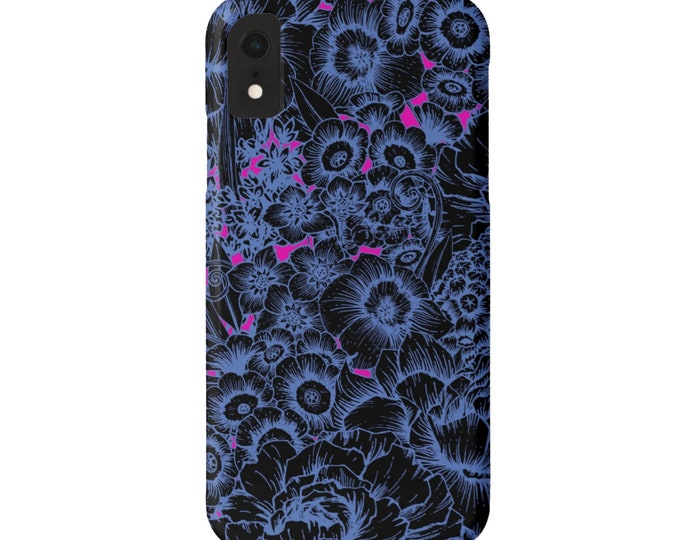 Acid Floral iPhone 11, XS, XR, X, 7/8, 6/6S Pro/MAX/Plus/P Snap Case or Tough Protective Cover, Bright Retro Pattern, Black/Blue/Bright Pink