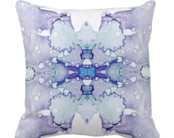 """OUTDOOR Mirrored Watercolor Throw Pillow or Cover 14, 16, 18, 20, 26"""" Sq Pillows/Covers Abstract Modern Lilac Purple/Gray/Aqua Painted Print"""