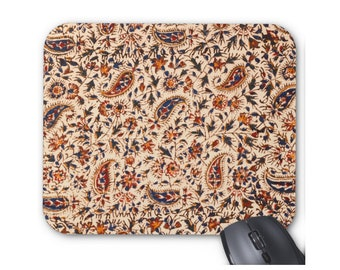 Vintage Paisley Print Mouse Pad, Earth Colors Mousepad, Tan, Red, Orange & Navy