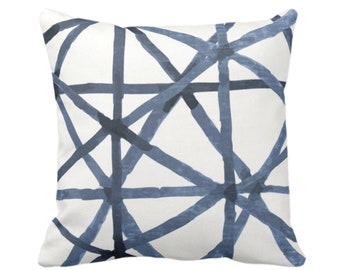 """Painted Lines Throw Pillow or Cover, White/Navy 14, 16, 18, 20, 26"""" Sq Pillows Covers, Dark Blue Modern/Star/Geometric/Geo/Abstract Print"""