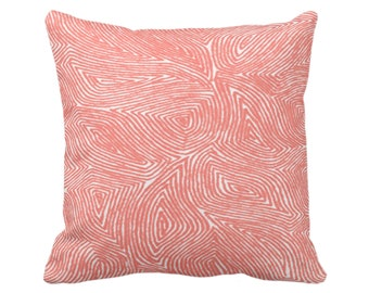 "OUTDOOR Sulcata Geo Throw Pillow/Cover, Living Coral & White 16, 18 or 20"" Sq Pillows/Covers, Abstract Geometric/Tribal/Lines/Wavy Pattern"