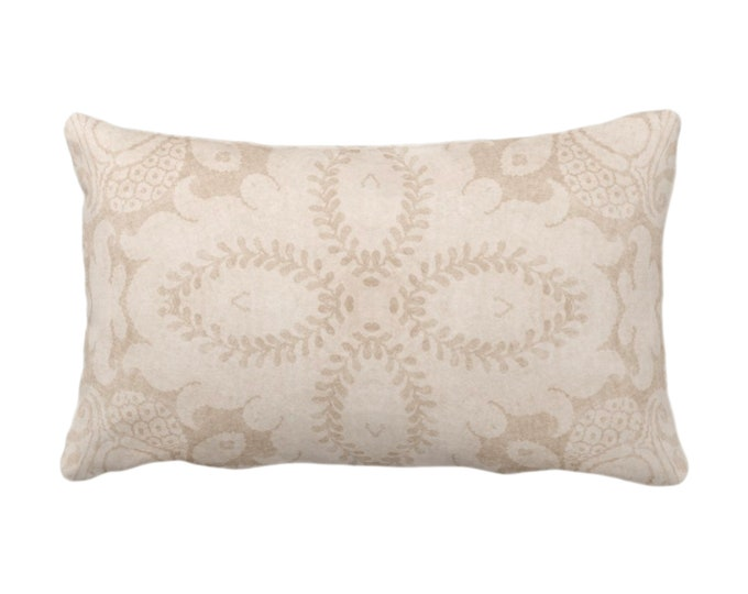 "Nouveau Damask Throw Pillow or Cover, Almond 14 x 20"" Lumbar/Oblong Pillows/Covers Beige/Sand/Cream, Floral/Batik/Geo/Boho/Tribal Pattern"
