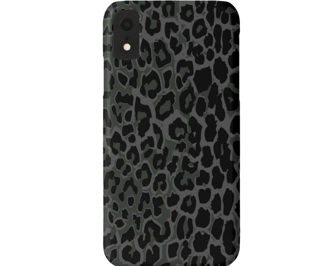 Gray/Black Leopard iPhone 11, XS, XR, X, 7/8, 6/6S Pro/Max/Plus/P Snap Case or TOUGH Protective Cover, Dark Animal Spots/Print/Pattern