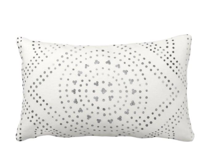 "Batik Diamond Medallion Print Throw Pillow or Cover, Off-White/Gray/Black 14x20"" Lumbar Pillows or Covers, Geo/Boho/Tribal/Hmong/Design"