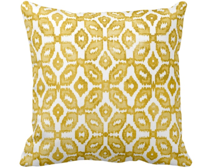 "Horseradish Ikat Print Throw Pillow or Cover 16, 18, 20 or 26"" Sq Pillows or Covers White/Yellow Geometric/Diamonds/Dots/Diamond/Trellis"
