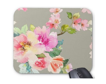 Watercolor Cherry Blossoms on Gray Mouse Pad, Colorful Vintage Floral Print Mousepad, Grey