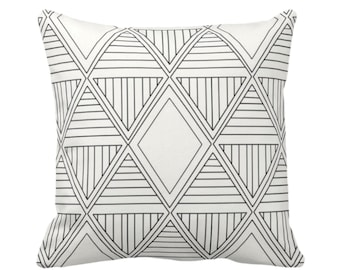 "OUTDOOR Geometric Diamonds Throw Pillow/Cover, Black/Off-White Print 16, 18, 20 or 26"" Sq Pillows/Covers, Tribal/Geo/Triangles/Modern Print"