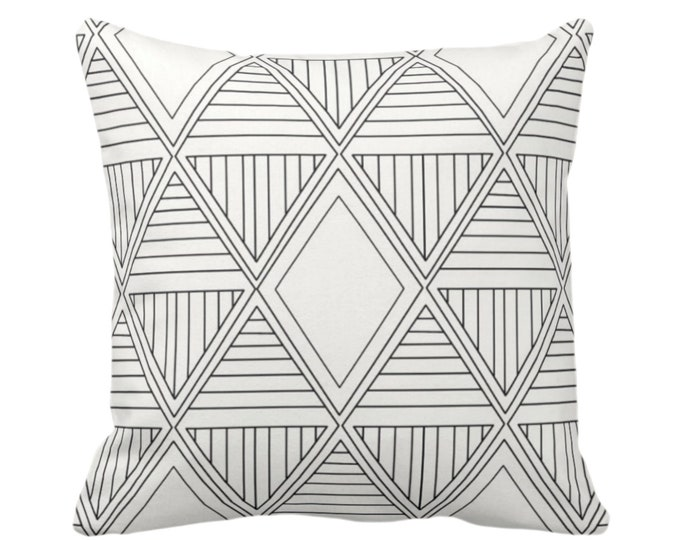"OUTDOOR Geometric Diamonds Throw Pillow or Cover, Black/Off-White Print 14, 16, 18, 20 or 26"" Sq Pillows/Covers, Tribal/Geo/Triangles/Modern"
