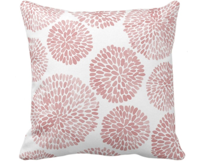 """Watercolor Chrysanthemum Throw Pillow or Cover, Adobe/White 14, 16, 18, 20, 26"""" Sq Pillows/Covers, Dusty Pink Modern/Floral/Flower Print"""