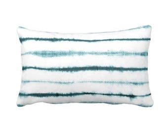 "OUTDOOR Uneven Lines Throw Pillow or Cover, Teal/White Print 14 x 20"" Lumbar Pillows or Covers, Shibori/Stripe/Striped Blue/Turquoise"