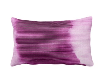 """OUTDOOR Bright Plum Ombre Stripe Throw Pillow/Cover 14 x 20"""" Lumbar Pillows/Covers, Purple Geometric/Print/Design/Striped/Stripes/Geo/Lines"""