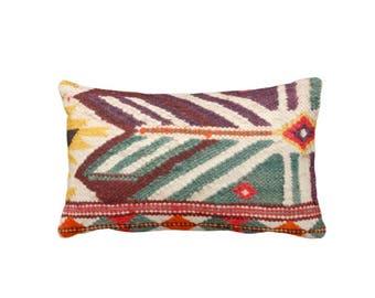 "OUTDOOR Boho Geometric Print Throw Pillow or Cover Lumbar 14 x 20"" Pillows or Covers, Purple/Teal/Yellow/Orange Boho/Ethnic/Rug/Tribal"