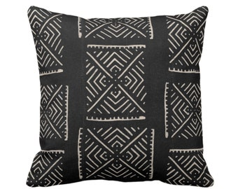 "Mud Cloth Print Throw Pillow or Cover, Diamond Geo Black/Off-White 16, 18, 20, 26"" Sq Pillows/Covers, Mudcloth/Boho/X/Cross/Tribal/Design"