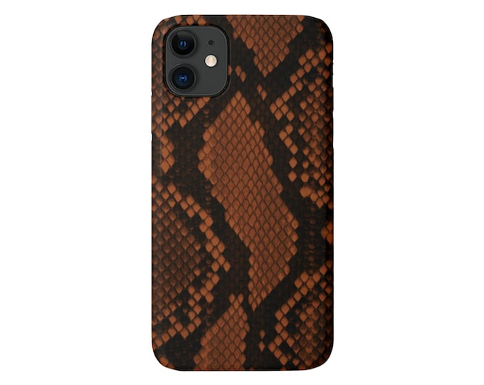 Cognac Snakeskin Print iPhone 11, XS, XR, X, 7/8, 6/6S Pro/Max/Plus/P Snap Case or TOUGH Protective Cover Saddle/Earth Tone Snake/Animal