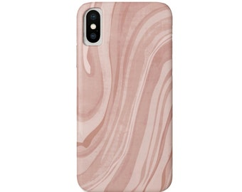 Marbled iPhone 11, XS, XR, X, 7/8, 6/6S, Pro/Max/P/Plus Snap Case or TOUGH Protective Cover, Adobe Pink Marble/Abstract/Modern Print, Blush
