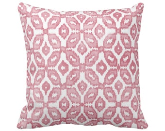 "READY 2 SHIP - OUTDOOR Blush Ikat Print Throw Pillow Cover 14"" Sq Pillow Covers Dusty Pink/White Geometric/Diamonds/Dots/Diamond/Trellis"
