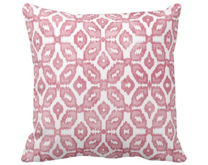 "OUTDOOR Blush Ikat Print Throw Pillow or Cover 16, 18, 20, 26"" Sq Pillows/Covers Dusty Pink/White Geometric/Diamonds/Dots/Diamond/Trellis"