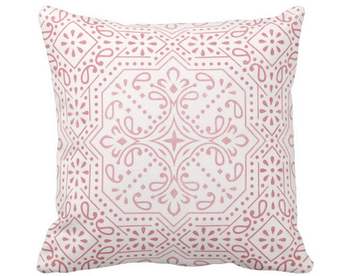 """OUTDOOR Tile Print Throw Pillow or Cover, Rosewood 16, 18 or 20"""" Sq Pillows or Covers, Dusty Pink Geometric/Batik/Trellis/Boho/Lattice"""
