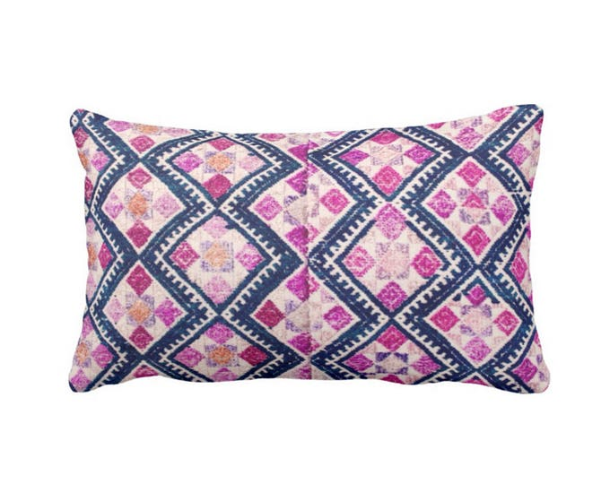 "OUTDOOR Chinese Wedding Blanket Printed Throw Pillow or Cover, Navy, Pink, Purple 14 x 20"" Lumbar Pillows or Covers, Vintage Embroidery"