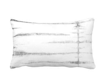 "OUTDOOR Subtle Stripe Lumbar Throw Pillow or Cover, Gray/White 14 x 20"" Pillows/Covers, Striped/Stripes/Lines Print/Pattern, Grey"