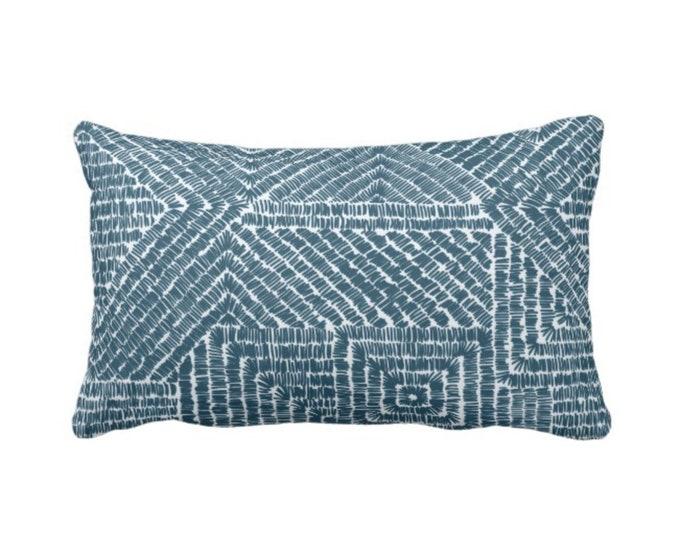 "Tribal Geo Throw Pillow or Cover, Teal 14 x 20"" Lumbar Pillows or Covers, Dark Blue/Green Geometric/Batik/Boho/Lines/Diamond Pattern/Print"