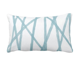 "Hand-Painted Lines Throw Pillow or Cover, Sky Blue/White 14 x 20"" Lumbar Pillows or Covers, Abstract Print, Aqua Channels/Stripes"