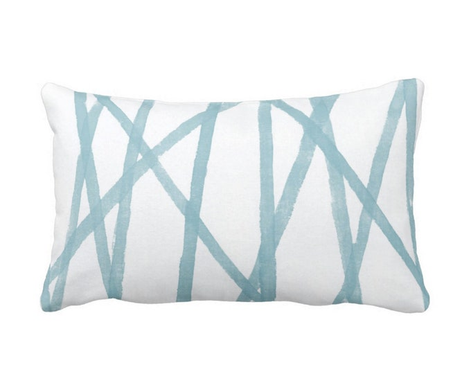"OUTDOOR Hand-Painted Lines Throw Pillow or Cover, Sky Blue/White 14 x 20"" Lumbar Pillows or Covers, Abstract Print, Aqua Channels/Stripes"