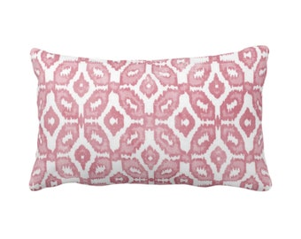 "Blush Ikat Print Throw Pillow or Cover 14 x 20"" Lumbar Pillows/Covers, Dusty Clay Pink & White Geometric/Diamonds/Dots/Diamond/Trellis/Geo"