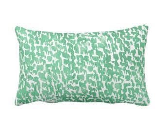 "OUTDOOR Aloe Speckled Print Throw Pillow or Cover 14 x 20"" Lumbar Pillows or Covers Mint Green Abstract/Marbled/Spots/Dots/Painted/Dashes"