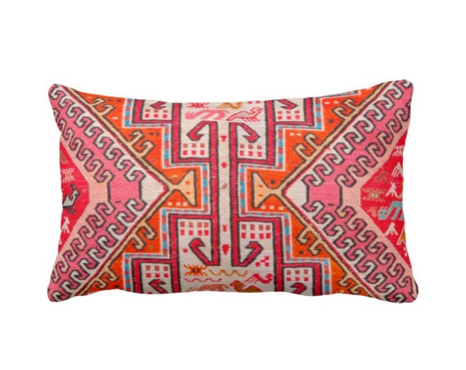 "OUTDOOR Colorful Kilim Print Throw Pillow or Cover, Boho Rug 14 x 20"" Lumbar Pillows or Covers, Pink/Orange/Red Tribal Geometric/Geo"