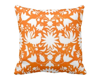 "Otomi Throw Pillow or Cover, Orange/White 16, 18, 20, 26"" Sq Pillows or Covers, Mexican/Boho/Floral/Animals/Nature Print/Pattern"