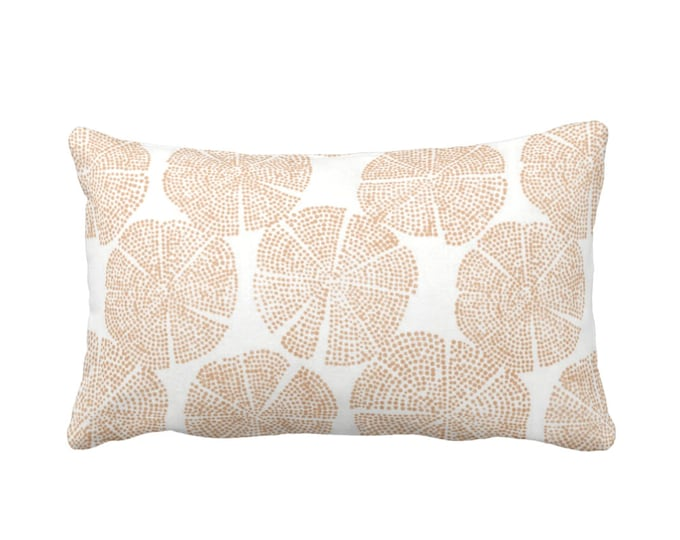 "Blockprint Floral Throw Pillow or Cover, Adobe/White 14 x 20"" Lumbar Pillows or Covers, Orange/Tan Block/Batik/Medallion Print"