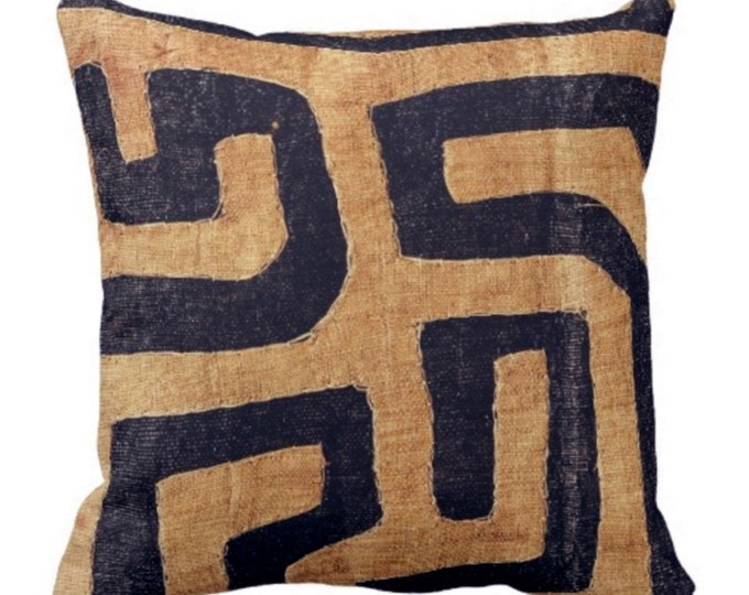 "SALE - PRINTED Kuba Cloth Throw Pillow Cover, Tan/Black 18"" Sq Pillows Covers, Geometric/African/Tribal/Boho/Design"