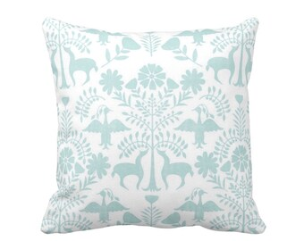 "OUTDOOR Otomi Throw Pillow or Cover, Sea Glass/White 16, 18 or 20"" Sq Pillows or Covers, Blue Mexican/Boho/Floral/Animals/Nature Print"