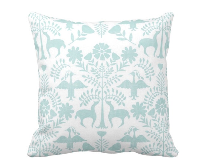 """OUTDOOR Otomi Throw Pillow or Cover, Sea Glass/White 16, 18 or 20"""" Sq Pillows or Covers, Blue Mexican/Boho/Floral/Animals/Nature Print"""