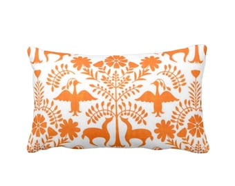 "Otomi Throw Pillow or Cover, White/Orange 14 x 20"" Lumbar Pillows or Covers, Mexican/Boho/Floral/Animals/Nature Print/Pattern"