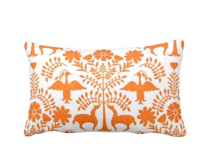 """Otomi Throw Pillow or Cover, White/Orange 14 x 20"""" Lumbar Pillows or Covers, Mexican/Boho/Floral/Animals/Nature Print/Pattern"""