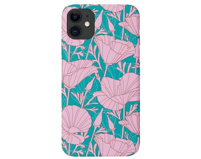 Deco Floral iPhone 11, XS, XR, X, 7/8, 6/6S Pro/Max/Plus/P Snap Case or Tough Protective Cover, Teal/Aqua/Pink Mod/Vintage Flower Pattern