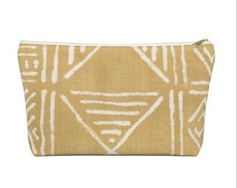 Mud Cloth Geo Print Zippered Pouch, Mustard & White Tribal Design, Cosmetics/Pencil/Make-Up Organizer/Bag, Boho/African/Geometric Yellow