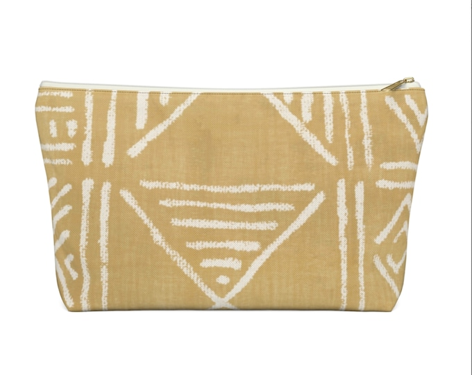 Mud Cloth Geo Print Zippered Pouch, Mustard & White Tribal Design, Cosmetics/Pencil/Make-Up Organizer/Bag, Boho/African/Geometric Yellow