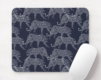 Leopards Mouse Pad, Navy & White Mousepad, Dark Blue Animal Print/Pattern, Modern/Cat/Cheetah/Spots/Spotted, Hand Drawn