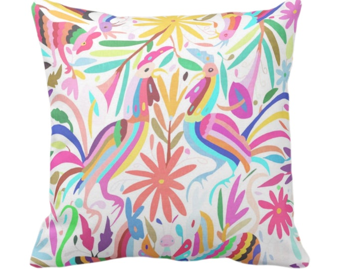"""OUTDOOR Otomi Pinks Throw Pillow, Printed 14, 16, 18, 20, 26"""" Sq Pillows, Colorful/Animal/Boho/Pink/Floral/Flower/Rooster Print"""