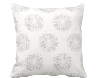 """Sea Urchin Print Throw Pillow or Cover, Smoke/Off-White 16, 18, 20 or 26"""" Sq Pillows or Covers, Gray/Grey Modern/Abstract/Starburst/Geo"""