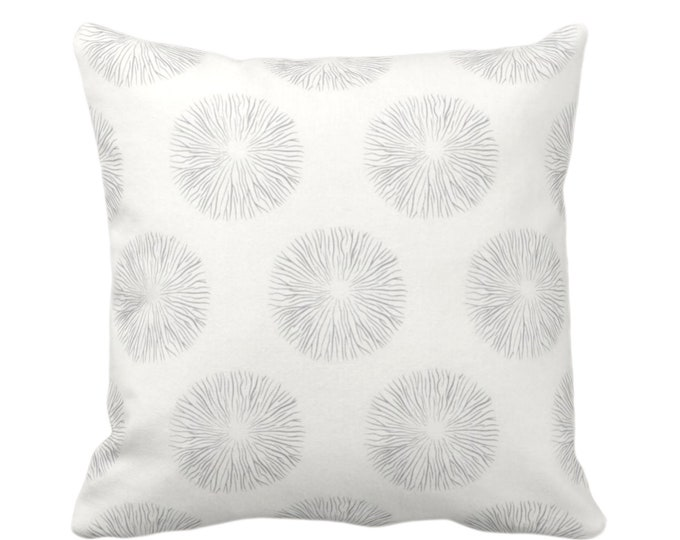 "Sea Urchin Print Throw Pillow or Cover, Smoke/Off-White 16, 18, 20 or 26"" Sq Pillows or Covers, Gray/Grey Modern/Abstract/Starburst/Geo"