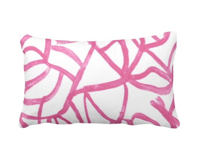 "OUTDOOR Abstract Throw Pillow or Cover, White/Magenta 14 x 20"" Lumbar Pillows/Covers Print Bright Pink Painted Abstract Geometric/Geo/Lines"