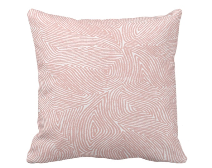"""OUTDOOR Sulcata Geo Throw Pillow or Cover, Porcelain Pink & White 16, 18 or 20"""" Sq Pillows/Covers, Abstract Geometric/Lines/Wavy Pattern"""