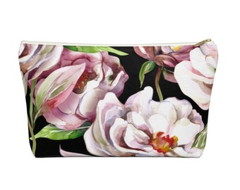 Watercolor Peonies Zippered Pouch, Floral Print, Cosmetics/Pencil/Make-Up Organizer/Bag, Pink Peony & Black Flowers/Flower Pattern/Design