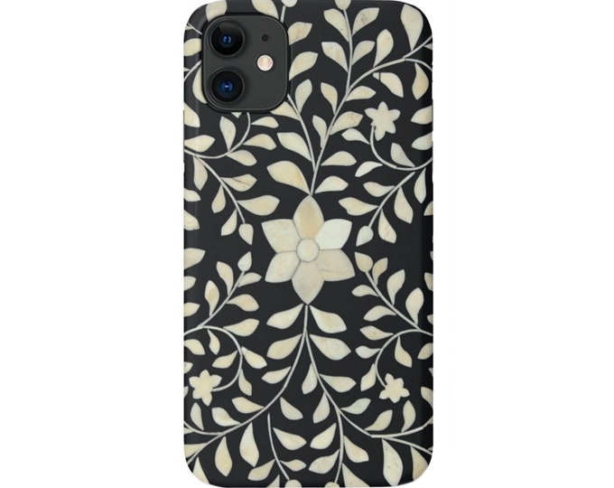 Bone Inlay Design iPhone 11, XS, XR, X, 7/8, 6/6S P/Plus/Max Snap Case or Tough Protective Cover, FAUX Black/White/Ivory Batik/Boho Floral