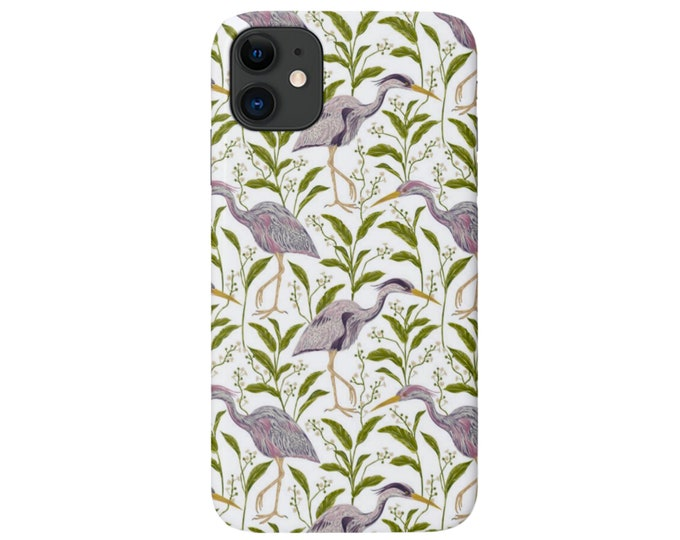 Heron Print iPhone 11, XS, XR, X, 7/8, 6/6S, Pro/Max/P/Plus Snap Case or Tough Protective Cover, Purple Birds/Bird Nature Pattern, Galaxy lg